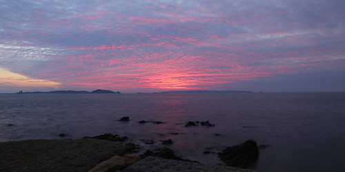 seascape night sunrise landscape outdoors seaside guernsey