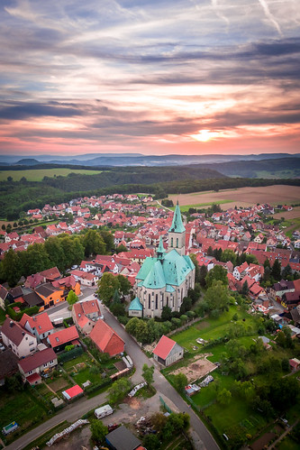 city sunset church thüringen dom kirche phantom drone eichsfeld effelder