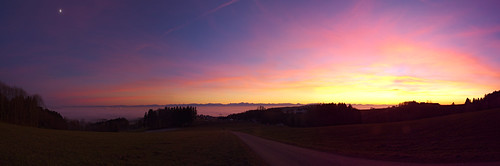 sunset goldenhour em10 panorama fog lonelyness alps mountainrange moon