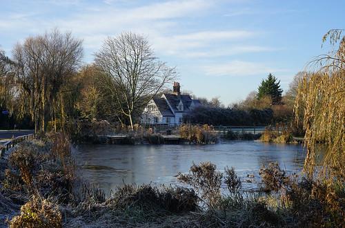 willian village hertfordshire herts england uk unitedkingdom letchworth pond frost ice winter cottage frozen rime