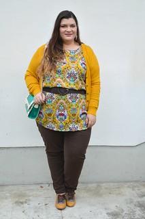Outfit marrone e senape