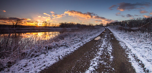 road morning november blue sun snow cold reflection water yellow sunrise early pond michigan ottawa sigma dirt chilly westmichigan twotrack 2015 ottawacounty canon60d thebendarea kevinpovenz