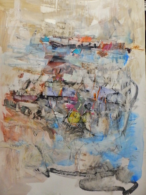 mixed media, acrylics and oil pastel on glossy paper in 2015 by mike esson