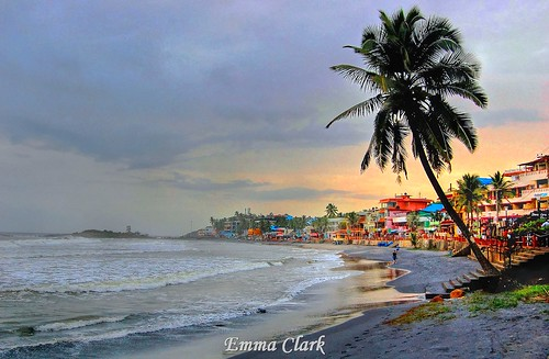 pink sunset sea sky india beach landscape landscapes sand nikon waves indian kerala palmtrees palmtree hdr kovalam kovalambeach