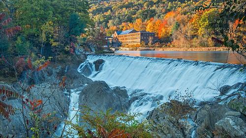 longexposure fall river waterfall factory russell massachusetts newengland olympus foliage oldbuilding paperfactory em1 westfieldriver