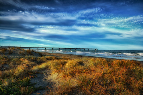 sea beach dunes pier new newbrighton landseaair blue light evening christchurch newzealand kevinjeffries nikon d7100 nikkor summer colorful weather february nature newzealandonflickr