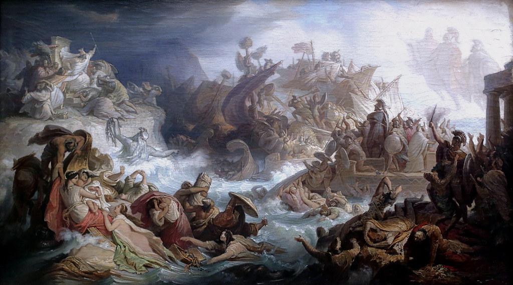 IMG_0924 Wilhelm von Kaulbach. 1804-1874. Dusseldorf et Munich. The Battle of Salamis. La Bataille de Salamine. vers 1858. Munich