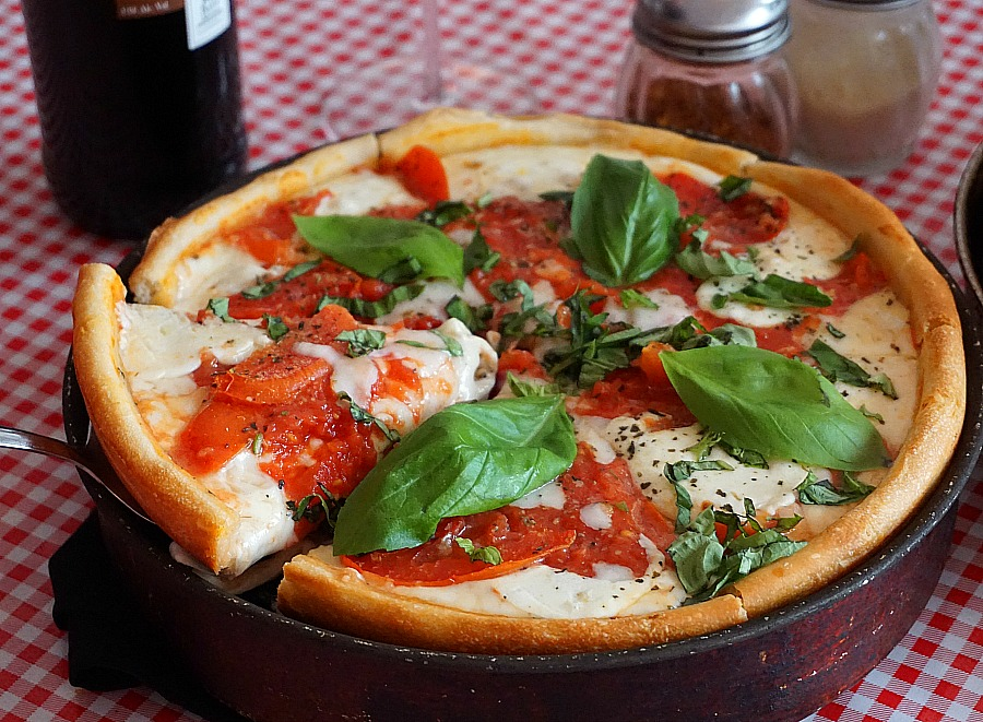 Don Chendo's Deep Dish Margherita Pizza