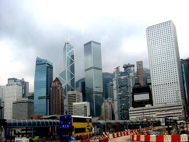 Bank of America, AIG, Ritz Carlton, Bank of China, Hong Kong Club, Cheung Kong, The Mandarine Hotel, HSBC, Standard Chartered Bank, Jardine House, Hong Kong