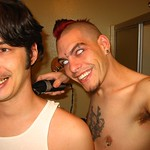 This is me shaving the back of Nad's head, while I was getting ready for Halloween 2005