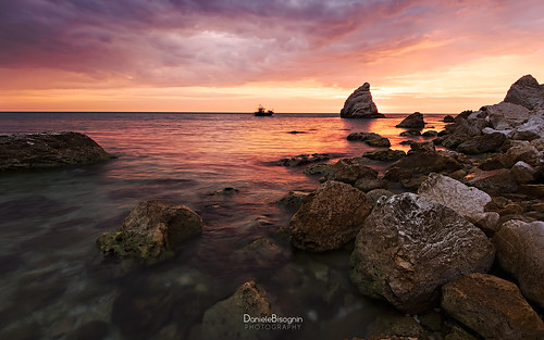 pink blue red sea summer sky italy orange seascape colors clouds sunrise boat fisherman rocks conero holydays lavela