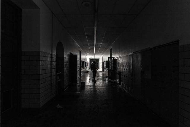 Back to School  #Gary #BlackAndWhite #Symmetry #Decay #School #HighSchool #Silhouette #Urban #UrbanExplorer #Urbex #LowLight #Abandoned #Stairs #GaryIndiana #Indiana