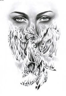 5dea8b7002dff female-eyes-and-flaming-phoenix-tattoo-design..... my tatt… | Flickr