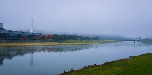 morning bridge mist newyork reflection tower fog river us unitedstates bank corning fujix100s
