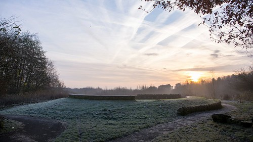 sunrise early morning frost canon 5d mark iii ruins grass trees sky contrails mist woodland livia silverdale park path woods 169 landscape building cirlce lookout view manchester pendlebury salford 16x9