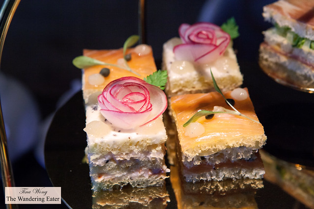 Pretty tea sandwiches on the savory afternoon tea tier