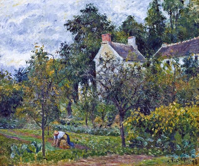 Camille Pissarro - La maison Rondest et son jardin à L'Hermitage, Pontoise  [1878]