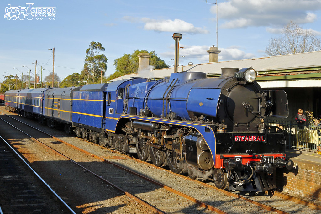 R711 Steamrail Snow Train sits at Traralgon station by Corey Gibson