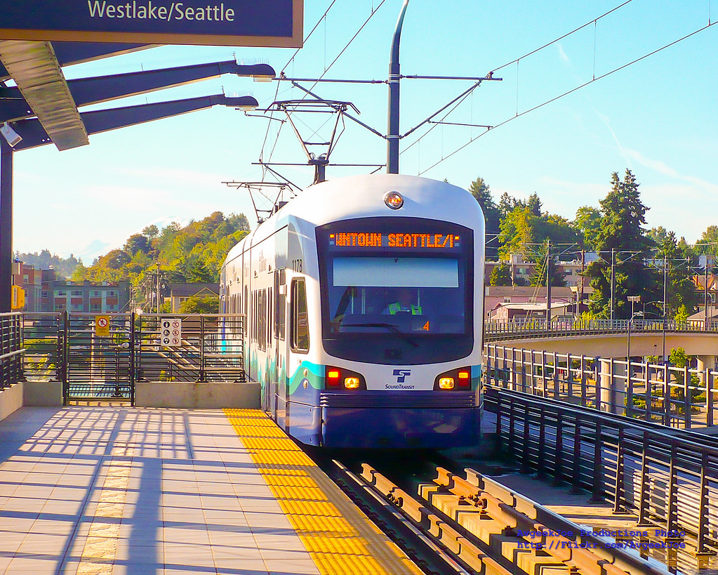 A Sound Transit Central Link Light Rail Train Pulling Into