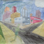 2012 - 2013, King City High School, Art 1, Buildings and Figure, Watercolors, Abby Foster