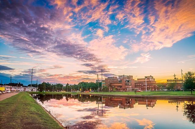 Sunset over Bayou St. John in New Orleans Louisiana