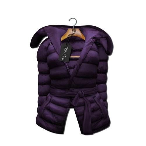 {MYNX} Puffy Tie Jacket - Plum Ad