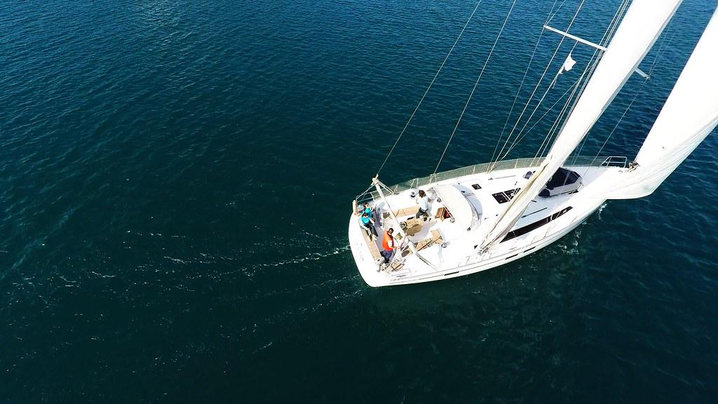 bavaria 46 deck cockpit mainsail genoa sails sailing yacht