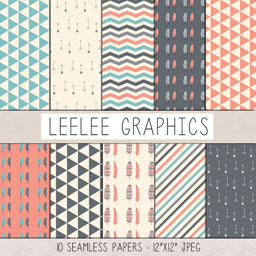 LeeLee-Graphics - Preppy Feathers Texture Pack