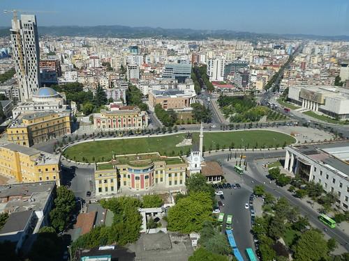 sheshi skënderbej skanderberg square tirana albania city view skyline central main cityscape architecture landmark