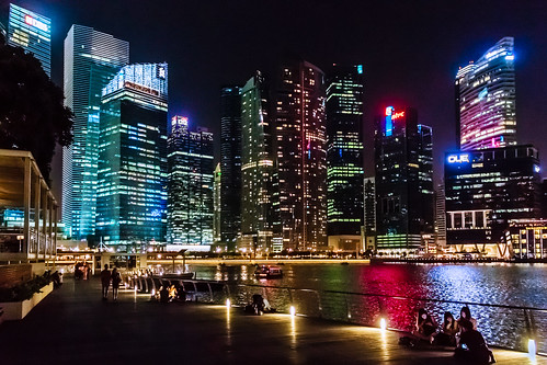 city skyscraper lights singapore downtown cityscape waterfront boardwalk marinabay