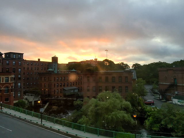 Sunrise over Dorchester Lower Mills August 20, 2015