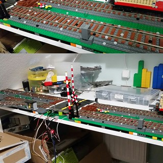 OK, done with integrating the cables and the ir beams. I will now start on 2 180° corners and will then finish the other side with a motorized switch controlled by light sensors. | by Aawsum MOCs Lego