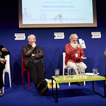 Writing Across Boundaries | Award-winning author David Almond, indigenous Australian writer Bruce Pascoe and Alison Hubert, Director of Book Aid International, speak about the importance of offering children literature that shows the wider world and themselves within it © Helen Jones