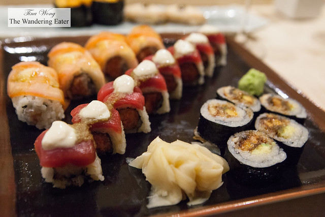 Three Golden Flowers sushi platter