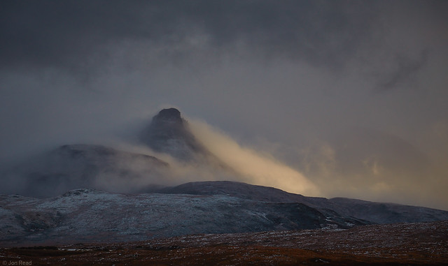 Snow storm clearing, Stac Pollaidh