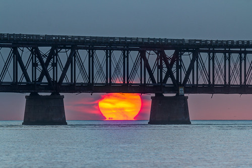 hdr sunrise old bahia honda bridge florida keys ocean sun ball morning