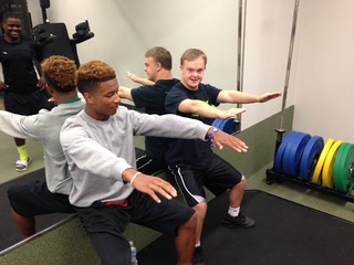 Western DuPage Special Recreation Association Athletes Pump Iron with COD Football Team 2015 13 | by COD Newsroom