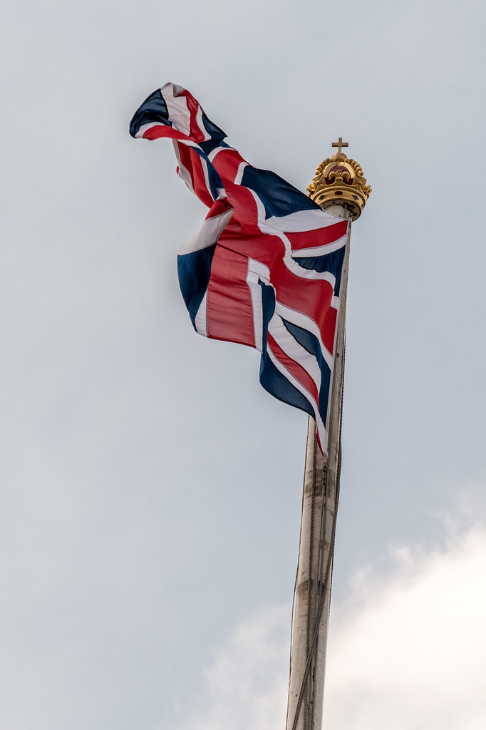 The Union Flag flies from the Palace when the Queen is not in residence