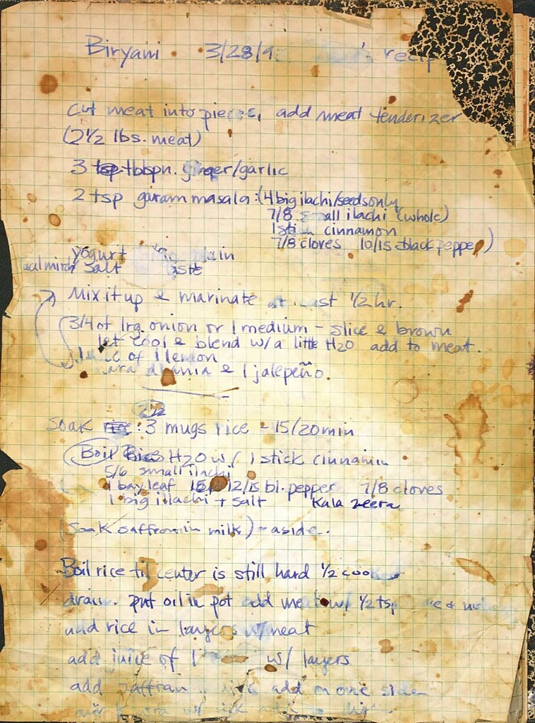 Abbu's Biryani recipe | hand written from 1993 (we think, ha