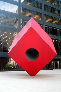 NYC - Financial District: Helmsley Plaza - Noguchi's Red Cube   by wallyg