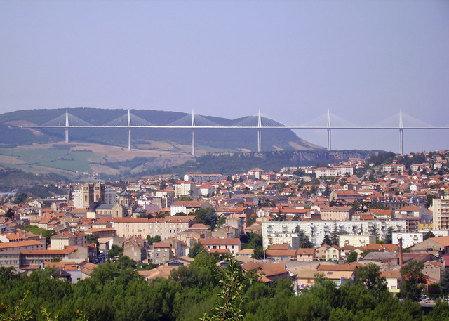 Millau viaduct and town