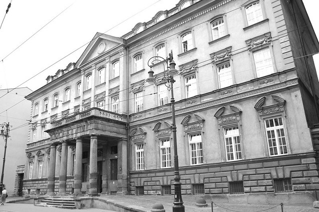 Old Government Building - This old govt building from the communist era looked out of place on a street with buildings from the 20s and 30s. Krakow, Poland, 2006.