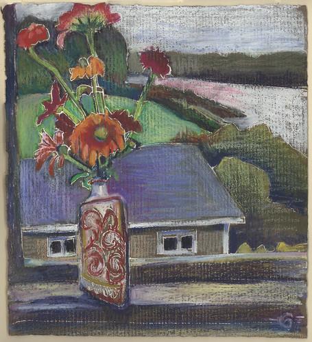 flowers landscape maine zinnias insideoutside stillllife latesummer brownpaper jonesport downeastmaine whitegelpen neocoloriiwatersolublewaxpastels marciamilnerbrage