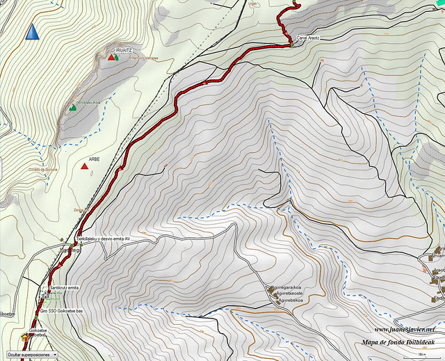 AIZKORRI raizk021 mapa23 detalle IBILBIDEAK Aranzadi valles Degurixa y Araotz