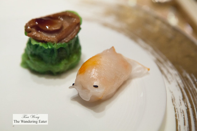 Goldfish har gaw and shu mai topped with braised abalone