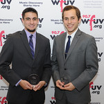 Mon, 02/11/2015 - 8:14pm - Fordham students Anthony Pucik (left), winner of the Bob Ahrens Award for Execellence in Sports Broadcasting, and Rob Palazzolo, right, winner of the WFUV Excellence in Journalism Award. November 2, 2015 in New York City. Photo by Chris Taggart.