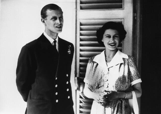 Princess Elizabeth and The Duke of Edinburgh in the Villa Guardamangia