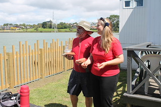 Paul Saunders being presented by Chantal Grass, the King/Queen of the River Intermediate trophy. | by PLSC (Panmure Lagoon Sailing Club)