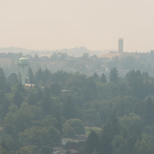 This isn't fun. #Pullman covered in smoke from #wildfires around the #northwest. Picture from #WSU Photo Services.