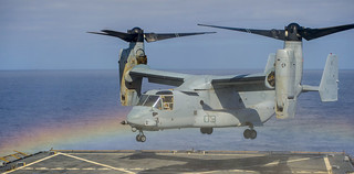An MV-22 Osprey lifts off. | by Official U.S. Navy Imagery
